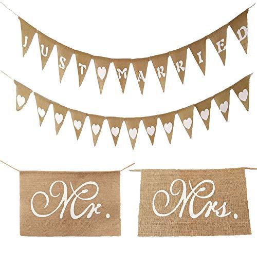 4er Set Wimpelkette Hochzeit Vintage Girlande Herz Jute Wimpelkette just married Wimpel Banner Stuhl Banner Set Mr. & Mrs Retro zum Aufhängen für Hochzeit Verlobung