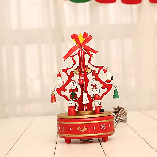 Decorazione Per Carillon Per Albero Di Natale Decorazioni Natalizie Regalo Per Bambini In Legno Rotante Con Decorazione Da Tavolo In Legno Per Albero Di Natale-Decorazione Carillon Rotante Rossa