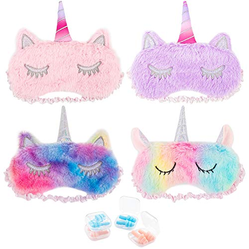 Whaline 4 Pieces Unicorn Sleeping Mask Eye Cover with 4 Pairs Ear Plugs, Ice Cream Color Soft Plush Blindfold Cute Horn Eyeshade for Women Kids Girls Home Travel Sleeping