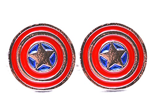 Marvel Captain America Boutons de manchette avec étoile bouclier Avengers Super Hero pour homme - Idée cadeau de mariage pour lui - Boîte de boutons d