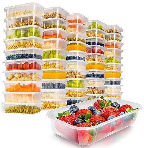 Z-Enterprise: 50 Stück Kunststoff-Lebensmittelbehälter 650 ml, BPA-frei, Lebensmittel-Aufbewahrungsbehälter-Set, wiederverwendbar, mit Deckel für Mikrowelle, Gefrierschrank und Spülmaschine