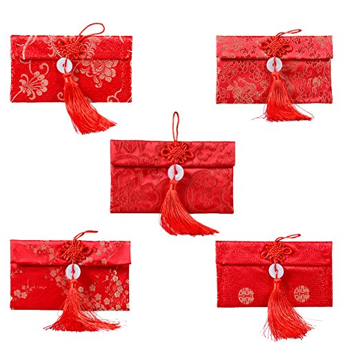 Chinese Silk Red Envelopes Traditional Envelopes,5 Pieces Chinese Element Red Envelopes Hong Bao Chinese Lucky Embroidery Lucky Money Envelope with Knot for New Year,Birthday,Wedding Style-1
