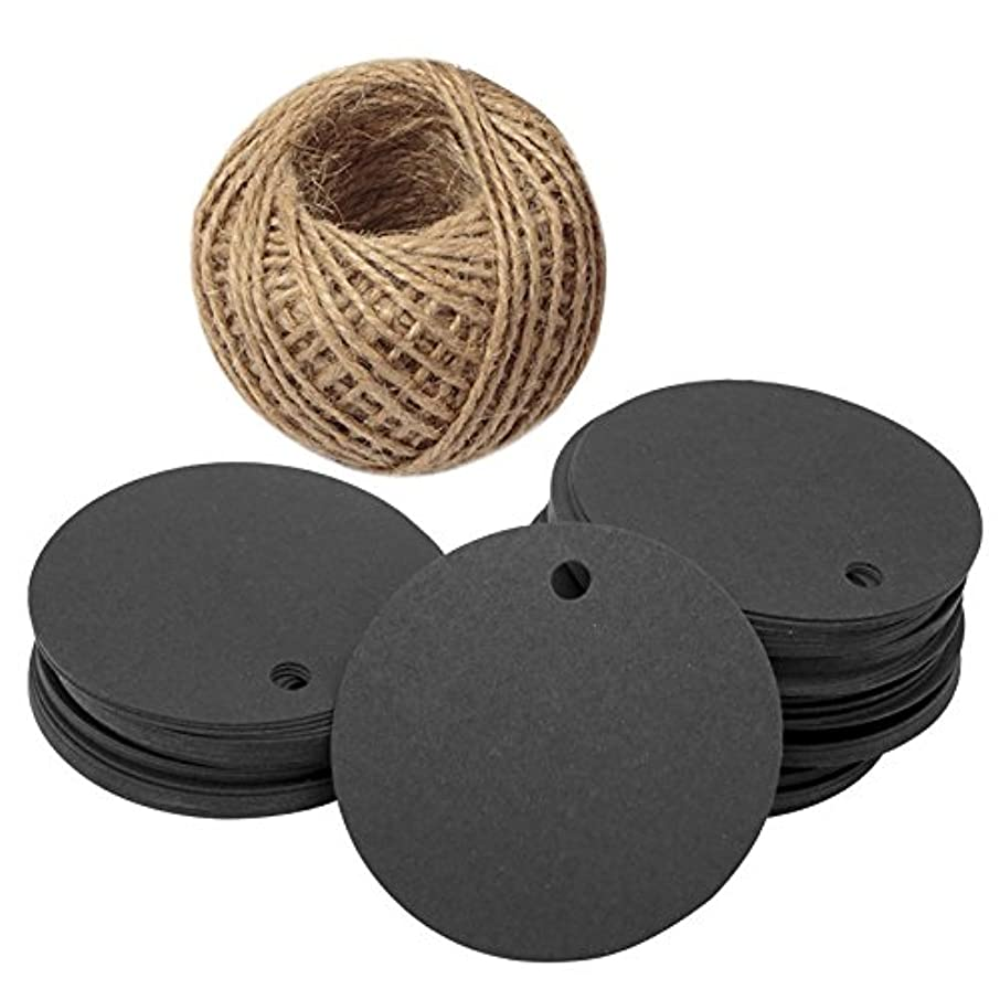 G2PLUS Kraft Paper Gift Tag with 100 Feet Jute Twine, Round Shaped 5.5 cm Blank Hang Tags for Craft Projects, Xmas Gifts (Black)
