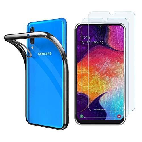 iLieber Coque de protection en verre blindé pour Samsung Galaxy A50