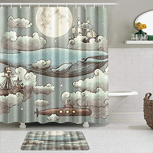 VAMIX Shower Curtain Sets with Non-Slip Rugs,Ocean Meets Sky Boat Whale Moon Cloud,Waterproof Bath Curtains Hooks and Bath Mat Rug Included