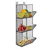 Hanging fruit basket rustic shelves Metal Wire Tier Wall Mounted over the door organizer Kitchen Fruit Produce Bin Rack Bathroom Towel Baskets fruit stand produce storage rustic Z Basket Collection