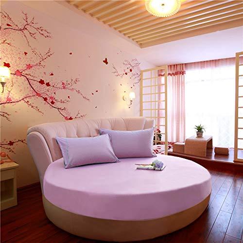 Sábana de cama redonda de algodón puro sábana de cama redonda de algodón de una pieza funda de cama de cuatro piezas colchón de hotel funda protectora antideslizante Hun Qing Sábana de 2 m de diámetro