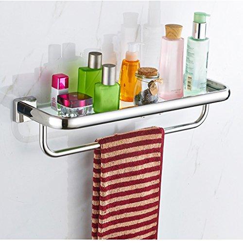 304 étagères en acier inoxydable étagères en verre seule couche avec serviette de serviette/salle de bains (taille : 60 cm)