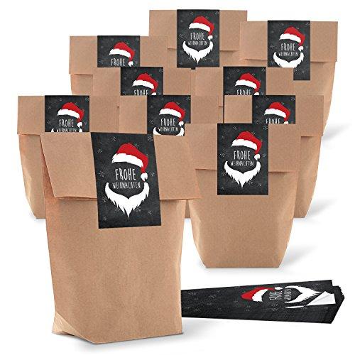 25 braun natur Weihnachtstüte Verpackung weihnachtlich 16,5 x 26 x 6,6 cm + 25 Aufkleber rot schwarz weiß Weihnachtsaufkleber Frohe Weihnachten 7 x 21 cm Geschenktüte Kunden-Geschenke verpacken