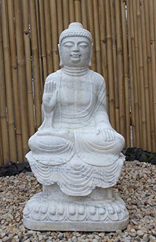 Asia Lifestyle Jardín Buddha Estatua (100 cm) de mármol Piedra Buda Escultura con Especial mármol