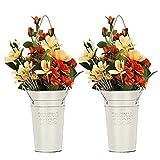 Shinowa [2 PZS Macetas de Metal, Cubo Decorativo de Flores con Asas, Jarra de Metal Vintage Cubo de Flores Secas, Macetas Colgantes Recipiente Rústico para Decoración Interior y Exterior, Blanco