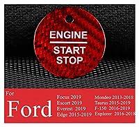 Furong リアルカーボンファイバーカーエンジンスタート停止ボタンカバーステッカーフィットフォードモンデオエスコートエーセストエッジトーラスF-150クガ (Color Name : A Model Red)