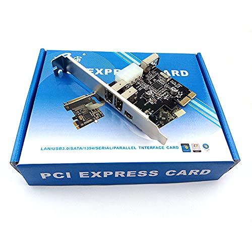 Zayaa Tarjeta de Captura de expansión 1394A con 3 Puertos Adaptador de Video PCI-E Compatible con transmisión de Datos IEEE 800/400/200/100 Mbps