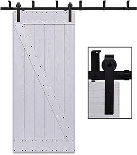comprar comparacion Herraje Puerta Corredera Techo 168cm/5.5ft Negro, CCJH Riel Puerta Corredera Armario, Adecuado para 1 Puerta de 84 cm de A...