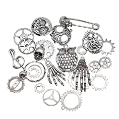 Mila-Amaz 80 Pcs Assorted Antique Steampunk Gears Metal Skeleton Pendant Charms Cogs for Jewelry Making Accessory - Bronze, Silver #2