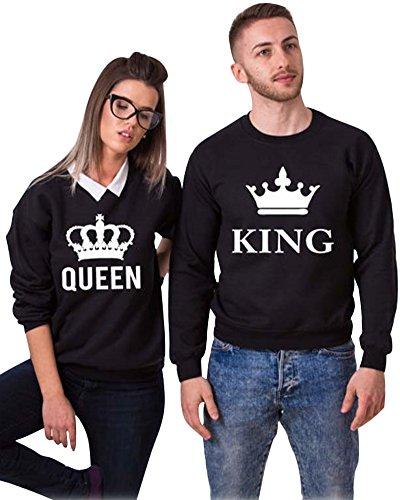 Minetom King & Queen Carta Impresión de Sudaderas Algodon Ocasional de Pareja Negro (King/Queen) EU M (Hombre)
