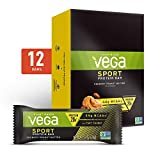 Vega Sport Vegan Protein Bar, Crunchy Peanut Butter, Post Workout Protein Energy Bars - Plant Based, Vegan, BCAAs, Vegetarian, Dairy Free, Gluten Free, Non GMO (12 Count)