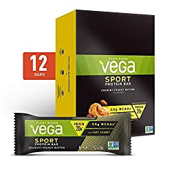 Vega Sport Vegan Protein Bar, Crunchy Peanut Butter, Post Workout Protein Energy Bars - Plant Based,