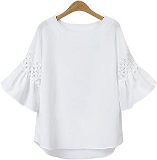 [ニブンノイチスタイル] 1/2style 七分袖 刺繍 白 紺 ボヘミアン フリル レース ブラウス レディース