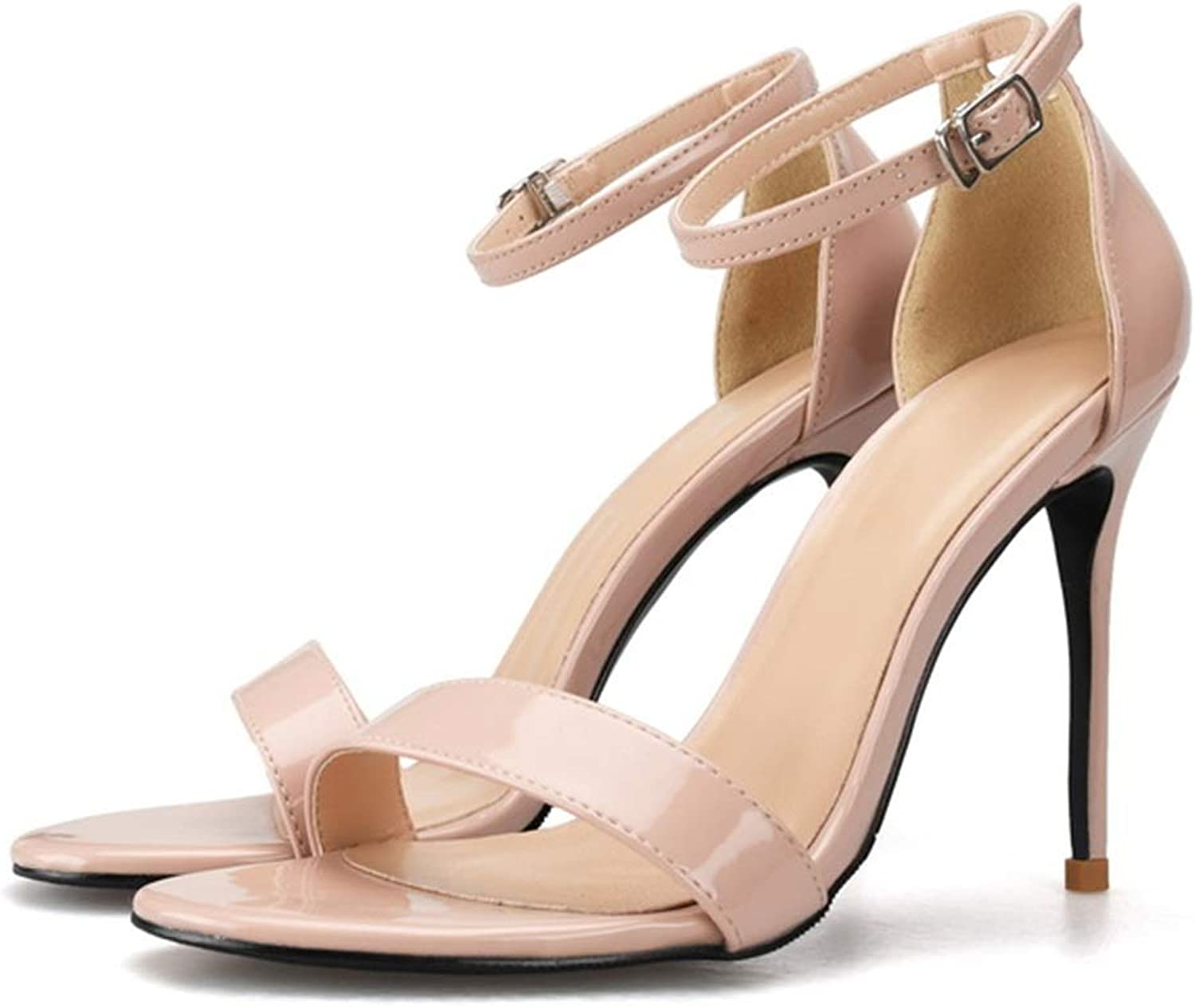 Lindarry Ankle Strap Sandals for Women Stiletto High Heeled Pumps for Ladies Patent PU Leather Open Toe Sides Cut Fashion (color   Nude, Size   3.5 M US)
