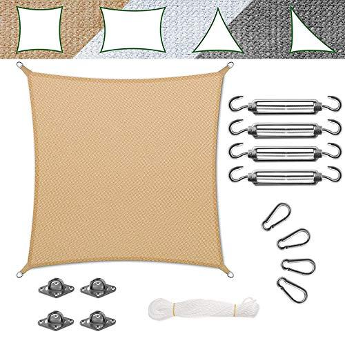 casa pura Voile d'Ombrage - Toile + Kit de Fixation Inclus   Voile d'Ombrage Carré Résistante UV   Toile Tendue en 9 Tailles   Sable - 5x5m + Accroche