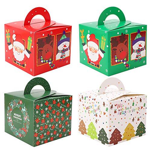 32 pièces Boites Cadeau Noël décoratives Kraft papier gâteau boîte fête de Noël faveur emballage boîtes de friandises décoratives boîtes Bonbonnières de Noël boîtes de en Papier, Coffrets présents