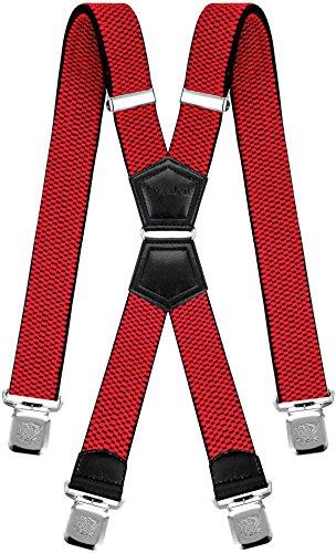 Decalen Hosenträger für Herren mit 4 Starken Clips X Form Lang Eine Größe Passt Alle Verschiedenen Farben (Rot)