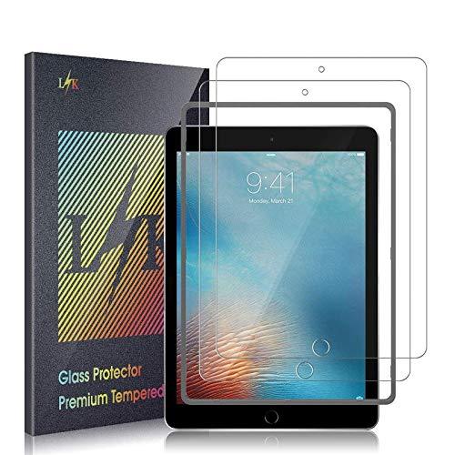 L K 2 Stück Schutzfolie Panzerglas für iPad 9.7 inch (2018/2017) / iPad Pro 9.7 / iPad Air 2 / iPad Air, [Bubble Free] [Anti-Kratzer] HD Klar Kameraschutz Folie Gehärtetem Glas Bildschirmschutzfolie