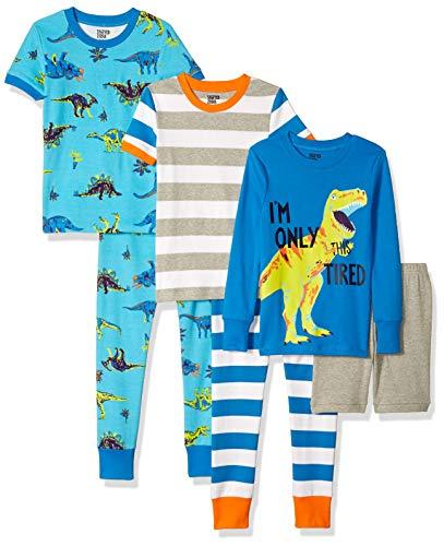 Spotted Zebra Boys' Toddler Snug-Fit Cotton Pajamas Sleepwear Sets, 6-Piece Dinoland, 4T
