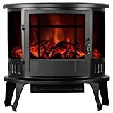 KUPPET 23' Standing & Wall Mounted Electric Fireplace Space Heater with Bracket and Glass in Rooms Stove Simulation Flame, Cobblestone, Adjustable Heater, 750W-1500W, Black