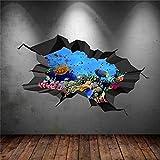 Vinilo adhesivo para pared con diseño de peces tropicales para el acuario o el mar de transferencia, para dormitorio, hogar, decoración de pared, extraíble, 31 pulgadas bl204