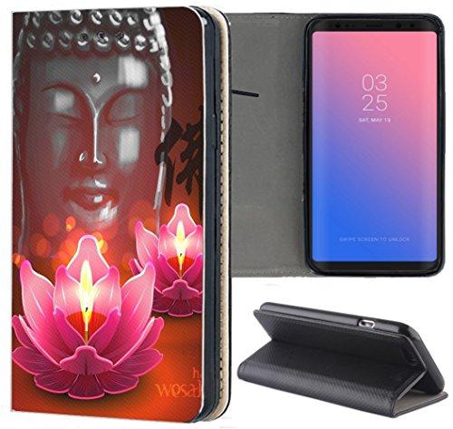Samsung Galaxy S9 Hülle Premium Smart Einseitig Flipcover Hülle Galaxy S9 Flip Hülle Handyhülle Samsung Galaxy S9 Motiv (1144 Buddha Lotusblume Braun Pink)