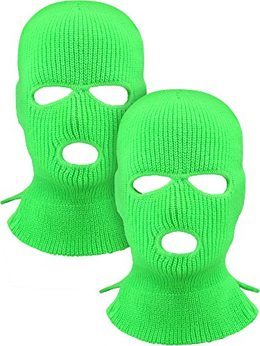 2 Pieces 3-Hole Ski Mask Knitted Face Cover Winter Balaclava Full Face Mask for Winter Outdoor Sports (Green)