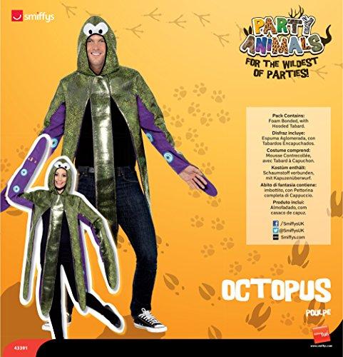Smiffys-43391 Traje de Pulpo, Espuma Aglomerada, con Tabardos Encapuchados, Color púrpura, Tamaño único (Smiffy