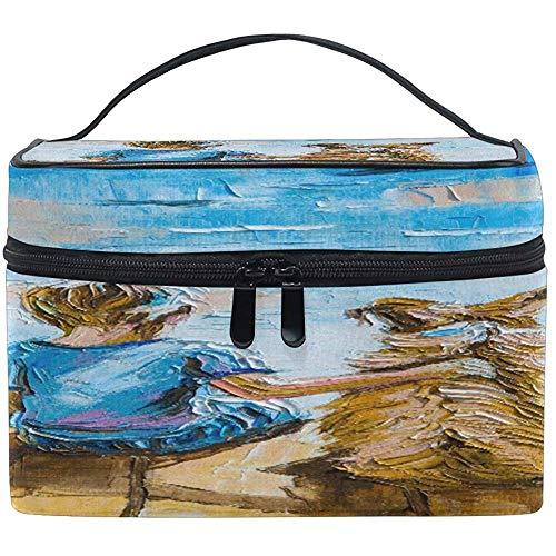 Grand Maquillage Sac Organisateur Vintage Garçon Et Chien Art Peinture Cosmétique Cas Sac De Toilette De Stockage Portable Zipper Poche Voyage Brosse Sac