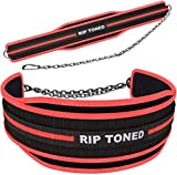 Rip Toned Dip Belt with Chain for Weightlifting, Pull Ups, Dips - 36' Heavy Duty Steel Chain - Weight Lifting Belt for Added Weight Training, Powerlifting, and Strength Training