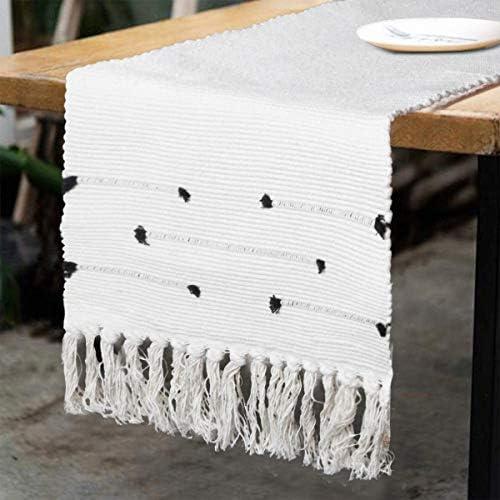 KIMODE Moroccan Fringe Table Runner Bohemian Geometric Cotton Woven Tufted Tassels Macrame Farmhouse product image
