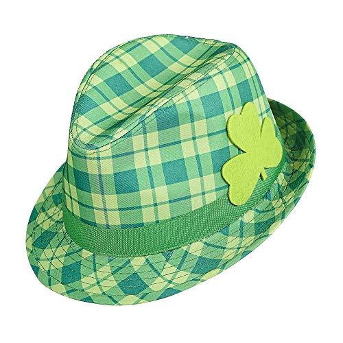 Widmann 14352 - Fedora Hut Saint Patricks Day mit irischem Kleeblatt, grün