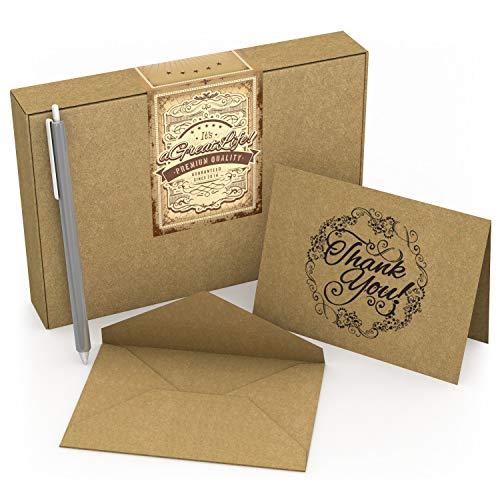 AGREATLIFE 50 Dankeskarten Vintage mit Umschlägen und STIFT- Nostalgie Dankeschön für Hochzeitsgeschenke Babygeschenke - personalisierte Karten zur Selbstgestaltung und Danke sagen für alle Anlässe