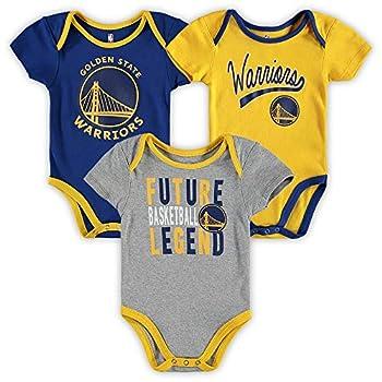 Outerstuff NBA Newborn Infants Champion 3 Piece Creeper Bodysuit Set - Golden State Warriors 18 Months