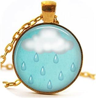 White cloud and rain necklace,Cute cloud sky jewelry, Rain and cloud necklace, Blue sky jewelry (Gold)