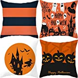 AOTE-C 4-Teiliges Set Halloween Haus Ancient House Kürbis Hexe Katze Kissenbezug Schlafzimmer Home Decor Sofa Dekoration Kissen Leinen Home Decoration Print Pattern Kissenbezüge Lendenkissen 45x45CM