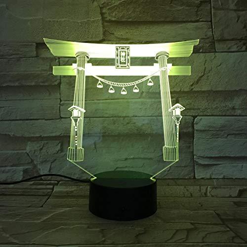 3D Nacht Lampe Flur, berühmte Gebäude Japan japanische Schrein USB Multicolor RGB Festival Schlafzimmer Zimmer Baby Nacht Geburtstag Geschenke Lichter Schlafzimmer Geschenk Kinder Dekoration Led Acryl