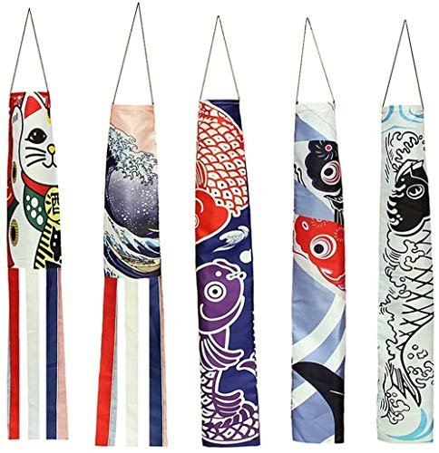 ZWR Carp Streamer Windsock Fish Flag Kite Restaurant Decoración, japonés Nobori Koinobori Juego de 5 Colores para Colgar en la Pared Decoración del Coche (Size : 140cm/55in)