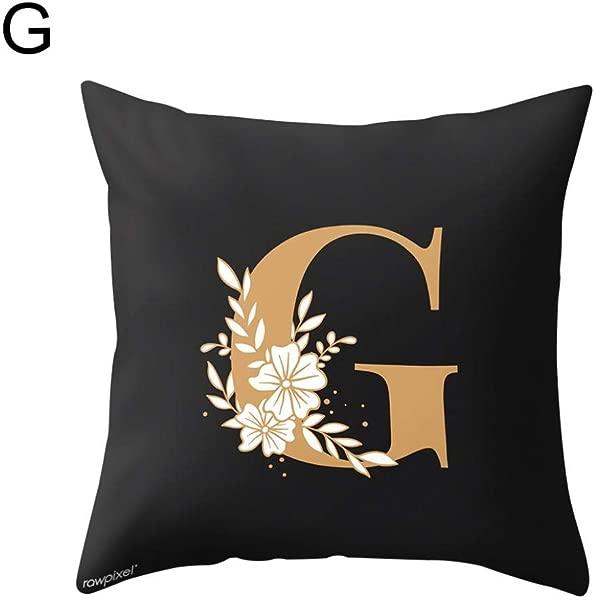 Quysvnvqt 靠垫套大写字母花朵印花枕头套腰垫靠垫套卧室装饰家用办公室 G