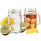 Set di 2 Mason Jar con coperchi Overnight Avena Mug con manici Old Fashioned Drinking Glass Canning Jelly Jars Barattolo di vetro preservativo, barattolo di vetro 500 ml