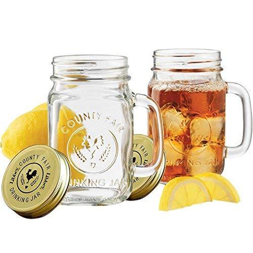 Glass Mason Jar Taza de avena durante la noche, jarra de conservación de vidrio hecha en casa, vaso para beber, 480 ml, 2 sets ,Con tapa。