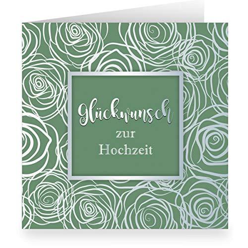 Groene trouwkaart met rozen bloesem modern weelderig in zilveren look binnen wit (vierkant, 15,5 x 15,5 cm incl. envelopp) felicitatie voor bruiloft grote XL kaart voor familie, vrienden, medewerkers 12 Grußkarten