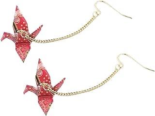 Origami Crane Bird Dangle for Women or Girls Cute Pretty Earrings