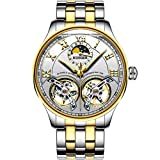 FAPROL-BINGER Orologio, Orologi da Polso Meccanico da Uomo Maturo, Visualizzazione della Fase Lunare, Moda Quadrante Volano Cavo Gold+White